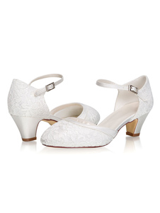 """أحذية الزفاف الساتان العاج جولة تو هريرة كعب 2 """"أحذية الزفاف"""