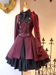 القوطية لوليتا الشاي حزب اللباس كم طويل المعطف لوليتا اللباس