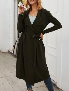 Cappotto collare di Turndown Lace Up Accademico annodata Sage Coat per la donna