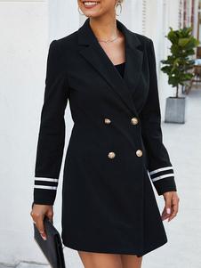 Черный пиджак Узкое длинное пальто двубортный британский стиль пиджак