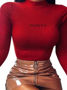Camiseta de manga larga navideña con letras de mezcla de algodón rojo estampada con cuello de joya para mujer
