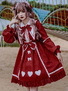 Сладкое лолита OP платье бордовый оборками лолита цельные платья