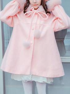 الحلو لوليتا المعاطف الوردي معطف المعطف الاصطناعية معطف الشتاء لوليتا يبلي