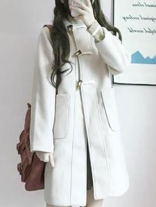 المعاطف الكلاسيكية لوليتا Ecru الحلقات البيضاء معطف الشتاء الاصطناعية لوليتا يبلي