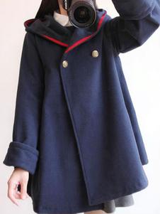 Abrigos clásicos de lolita Ojales azul marino Abrigo sintético Ropa de invierno de lolita