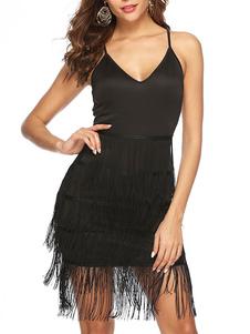 فساتين الرقص اللاتينية عارية الذراعين هامش اللباس الأسود ملابس الرقص المرأة
