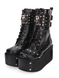 أحذية لوليتا Steampunk بو الجلود جولة تو الأسود لوليتا الأحذية