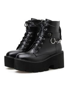 Botas Steampunk Lolita PU couro Toe redondo calçado preto Lolita