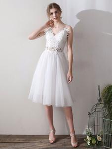 Curto vestidos de noiva V Neck mangas Um Chá Linha Natural cintura comprimento Organza Vestidos de noiva