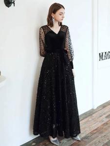 Черное платье для выпускного вечера V-образным вырезом с длинными рукавами в горошек Тюль Блестки Вечерние платья
