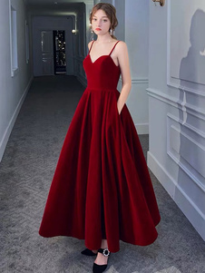 Vestido de noite A Line Sweetheart Neck Velour Floor Length Pockets Vestidos de festa formais