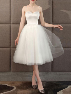 Vestidos de noiva Coração Pescoço Sem mangas A Linha de chá Comprimento Vestido de noiva curto