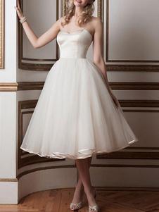 Vestidos de noiva vintage 2020 querida pescoço sem mangas uma linha chá comprimento vestidos de noiva