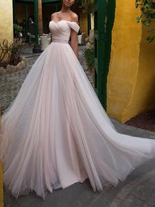 Abiti da sposa 2020 A Line Off The Shoulder maniche corte Sash Sweetheart Neck Abiti da sposa
