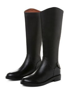 المرأة ركوب الأحذية الجلدية أحذية عالية في الركبة جلد البقر الأسود جولة تو شقة