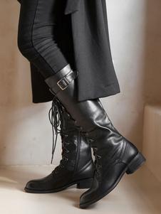 النساء الجلود القتالية أحذية الركبة أحذية عالية جلد البقر الأسود جولة تو كعب منخفض كتلة