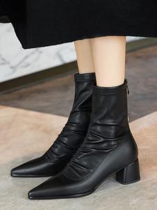 """أحذية الكاحل المرأة مطوي أشار تو كعب مكتنزة 2 """"الجوارب جورب"""