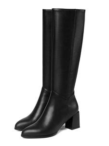 """Stivali al ginocchio in pelle Stivali in pelle di vitello Punta a punta Tacco grosso 2.6 """"Stivali al ginocchio da donna"""