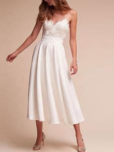 Vestido de noiva curto com decote em v sem mangas uma linha chá comprimento correias vestidos de noiva