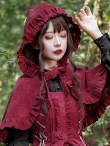 Сладкая одежда Лолиты Бордовый лук Оборки с бантами Джемпер без рукавов Плащ