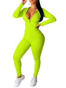 Спортивный костюм из двух частей неоновый зеленый балахон на молнии с длинным рукавом женский наряд