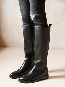 جلد طبيعي طول الركبة أحذية جلد البقر الأسود جولة تو شقة
