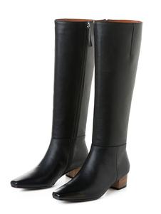 أحذية عالية في الركبة جلد البقر ساحة تو كتلة منخفضة كعب الركبة طول أحذية للنساء