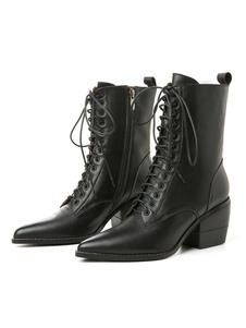 """As mulheres atam as botas de tornozelo couro preto dedo apontado 2.6 """"botas de salto robusto"""