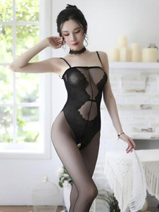 Peluches Lingerie Floral Preto Sem encosto Poliéster Mulheres Sexy Peluches
