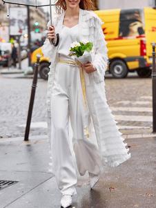 Longline Duster Jacket Fringe Mulheres Maxi Rain Coat