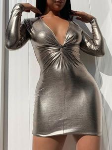 Vestido club sexy de mujer con cuello en v manga larga vestido ajustado plateado