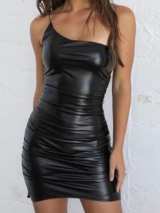 Vestido club negro Vestido camisero sexy sin mangas Vestido sin espalda de cuero de PU sin espalda