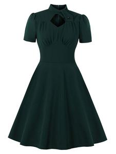 Vestido retrô 1950 verde escuro mangas curtas vestido de balanço