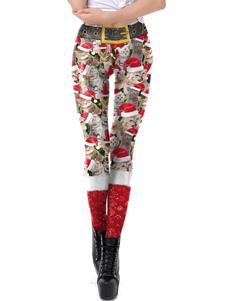 المرأة عيد الميلاد يغطي الرجل الأحمر عيد الميلاد نمط نحيل الساق بانت عطلات ازياء