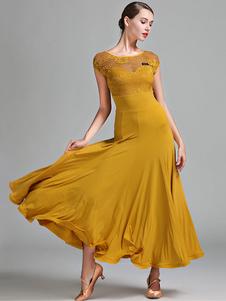 Trajes de dança de salão Rendas de seda Ruffle Dress Dancer Women Dance Dress