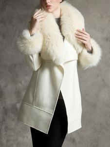 Пальто для женщин из искусственного меха в стиле ретро, черное шерстяное пальто