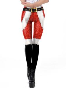 أزياء المرأة عيد الميلاد سانتا كلوز الأحمر نحيل الساق بانت