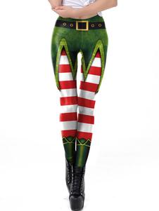 Mulheres Leggings de Natal Árvore de Natal Imprimir Green Holiday Skinny Leg Pant
