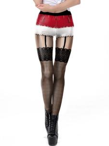 Disfraz Carnaval Leggings navideños para mujer Patrón navideño Pierna flaca sexy Disfraces rojos para fiestas Carnaval