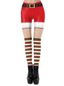 Disfraz Carnaval Leggings navideños para mujer Patrón navideño rojo Pantalón pitillo para fiesta Disfraces de vacaciones Carnaval