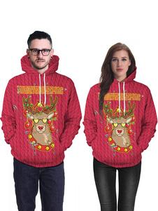 Costume Carnevale Maglione di Natale brutto a maniche lunghe con stampa di felpa con cappuccio unisex di Natale