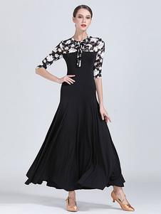 Trajes de dança de salão de seda preta impressão floral plissado mulheres dançarina vestido de dança