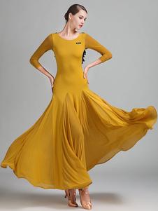 Trajes de dança de salão Ruffle Silk Dress Women Dancing Wear