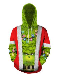 Costume Carnevale Brutta felpa con cappuccio per le vacanze a maniche lunghe con stampa maglione di Natale