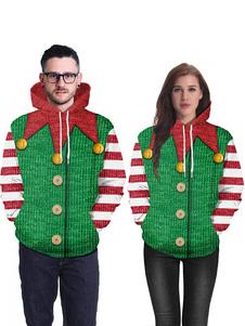 Costume Carnevale Felpa con cappuccio a manica lunga con stampa maglione di Natale brutto