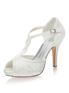 Peep Toe Plataforma T-tipo Sapatos de casamento Sapatos de salto agulha
