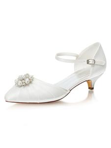 وأشار اثنين من الجزء المنخفض منتصف كعب حذاء الزفاف تو أحذية اللؤلؤ هريرة كعب الزفاف