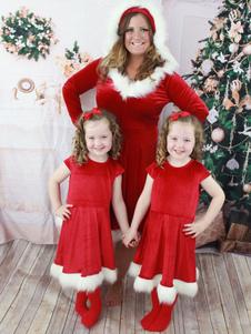 Costume Carnevale Pigiama natalizio per famiglie Costume da Babbo Natale rosso peloso