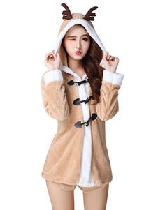 Disfraz Carnaval Traje de Navidad sexy Reno Polar Fleece Mujer Abrigo con bragas Carnaval