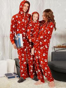 Macacão de Natal da Família Matching Pajamar Family Red